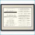 客船コンテ・ディ・サヴォアの一般配置図、額入りアートポスター 2703XL黒