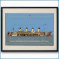 客船オリンピックの断面図・額入りアートポスター 2708XL黒
