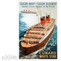 キュナード・客船クイーンエリザベスのポスター | レプリカポストカード2034b