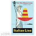 イタリアンライン・客船クリストファー・コロンボのポスター | レプリカポストカード2094b