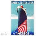 ユナイテッドステーツライン・客船アメリカのポスター | レプリカポストカード2391