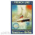 フレンチライン・客船パリのポスター | レプリカポストカード2407b