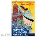フレンチライン・客船イル・ド・フランスのポスター | レプリカポストカード2409b