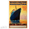 ユナイテッドステーツライン・客船ワシントン、マンハッタンのポスター | レプリカポストカード2615