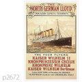北ドイツロイド・カイザー・ヴィルヘルムII級客船のポスター | レプリカポストカード2672