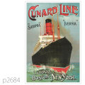 キュナード・客船イヴァーニア、サクソニアのポスター | レプリカポストカード2684