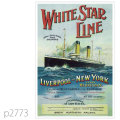 ホワイトスターライン・客船オーシャニックとビッグ4のポスター | レプリカポストカード2773