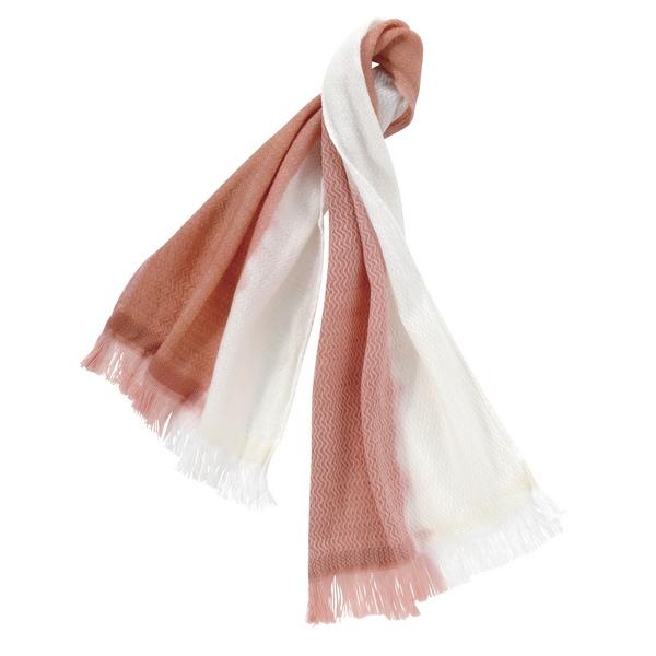 天然草木染しぐれ織 コットンウールショートマフラー(ピンク) ●04100311