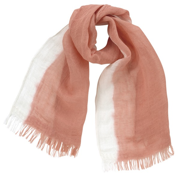 天然草木染 かすみ織コットンリネンマフラー(ピンク) ●08100486