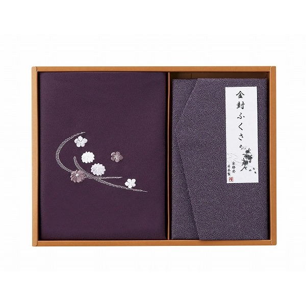 刺繍入り二巾風呂敷&金封ふくさ (紫)  おこころざし.com