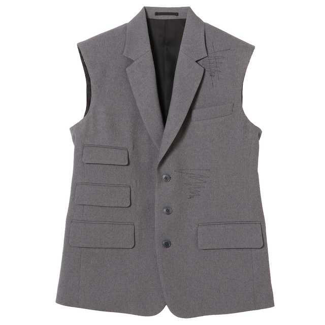 KUDOS COVER STITCH TAILOR VEST GRAY