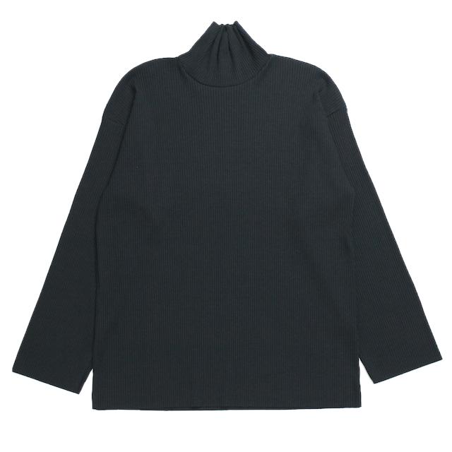 EPHEMERAL RIB HI-NECK TOP BLACK