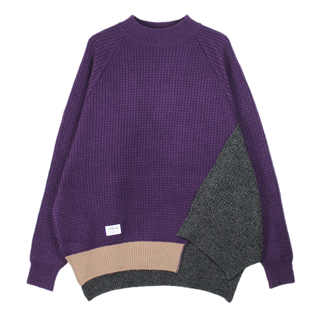 elephant TRIBAL fabrics OUT OF ALIGNMENT KNIT PURPLE