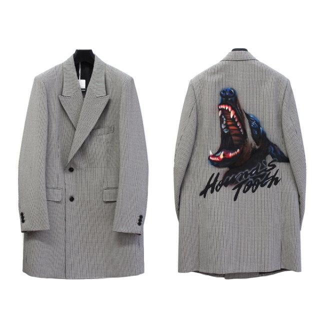 doublet Pe/W HAND-PAINTED LONG TAILORED JACKET HOUNDSTOOTH