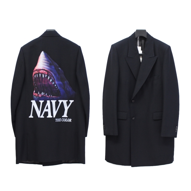 doublet Pe/W HAND-PAINTED LONG TAILORED JACKET NAVY