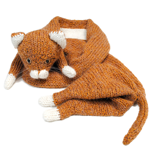 doublet STUFFED CAT HAND-KNITTING SCARF CAMEL