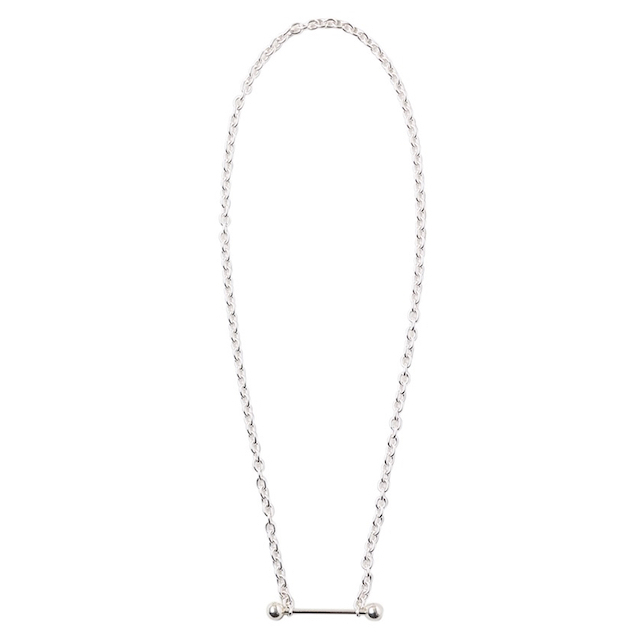 JOHNLAWRENCESULLIVAN STRAIGHT BARBELL NECKLACE SILVER
