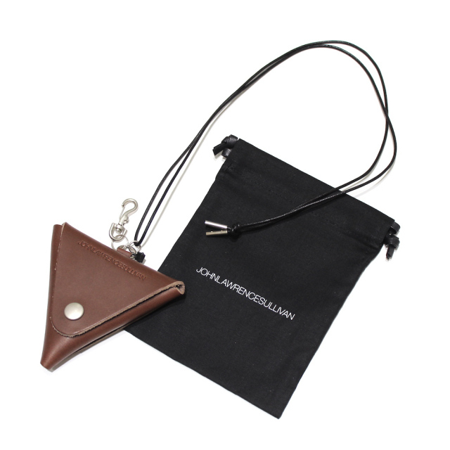 JOHNLAWRENCESULLIVAN 定番 LEATHER TRIANGLE COIN CASE BROWN