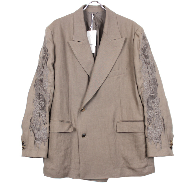 doublet CHAOS EMBROIDERY LINEN TAILORED JACKET BROWN