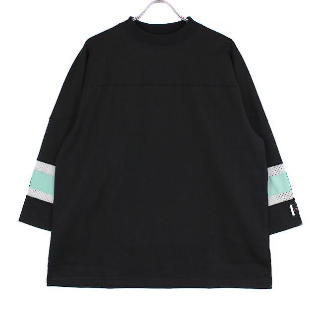 elephant TRIBAL fabrics MOCK NECK HOKKEY T BLACK