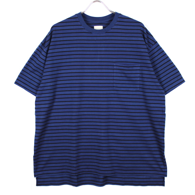 YSTRDY's TMRRW OVER DYED BORDER BAGGY TEE SS NAVY