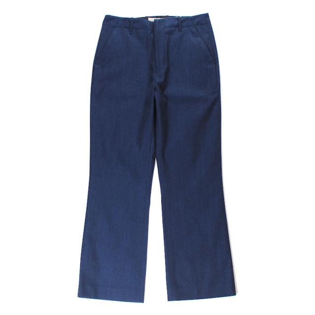 JIEDA GABARDINE FLARE SLACKS BLUE