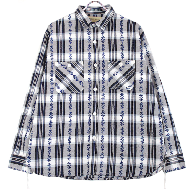 YSTRDY's TMRRW COTTON FLANNEL 925 SHIRT NAVY