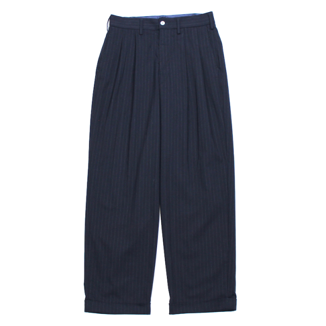 YSTRDY's TMRRW MIX BROAD STRIPE 2 TUCK SLACKS NAVY