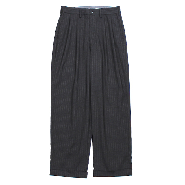 YSTRDY's TMRRW MIX BROAD STRIPE 2 TUCK SLACKS CHARCOAL