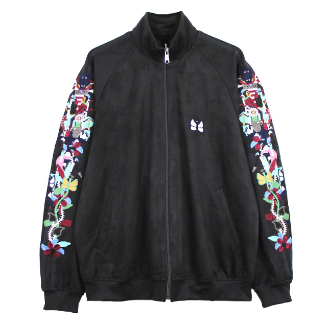 doublet CHAOS EMBROIDERY SUEDE TRACK JACKET BLACK