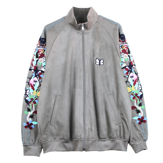 doublet CHAOS EMBROIDERY SUEDE TRACK JACKET GREY