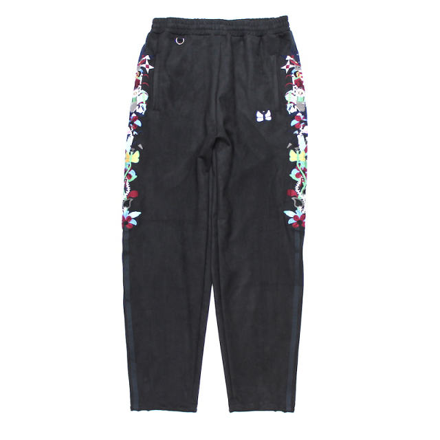 doublet CHAOS EMBROIDERY SUEDE TRACK PANTS BLACK