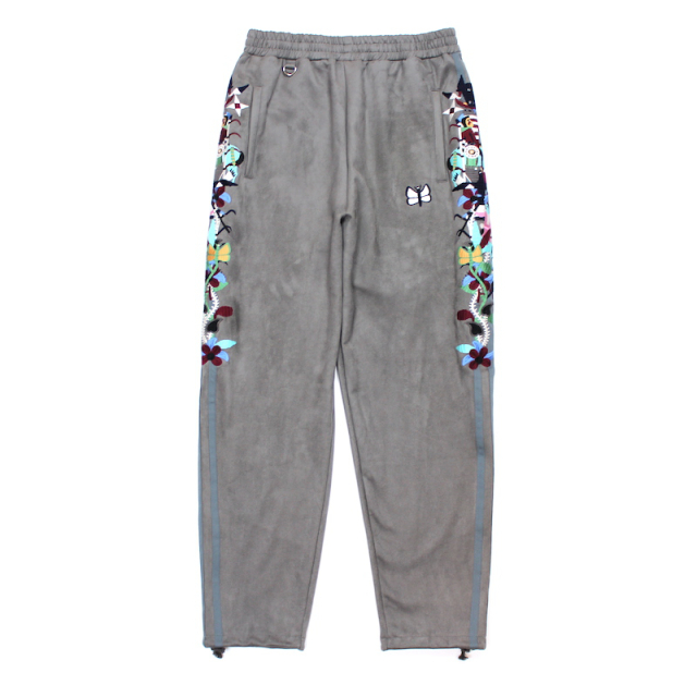 doublet CHAOS EMBROIDERY SUEDE TRACK PANTS GREY