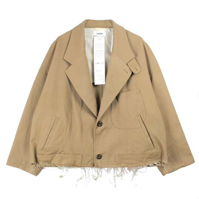 doublet SILK CHINO CUT-OFF JACKET BEIGE
