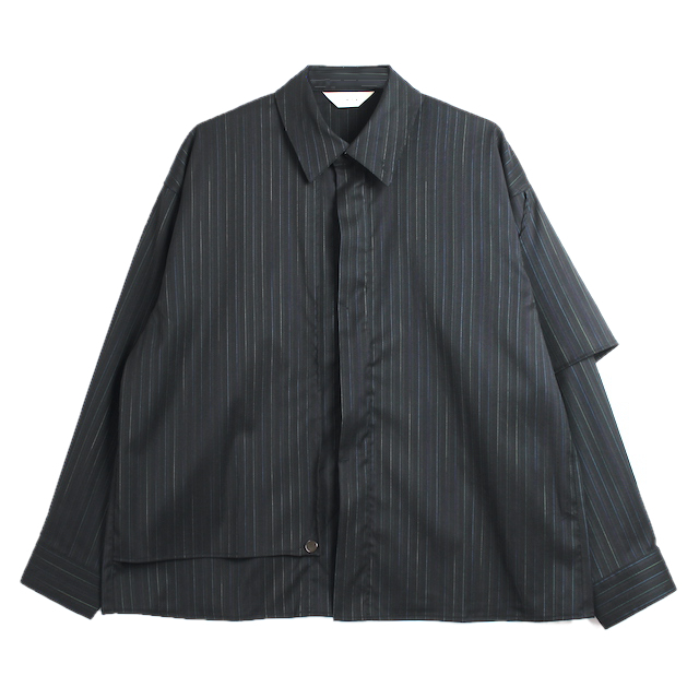JIEDA SILK STRIPE TRENCH SHIRT BLACK