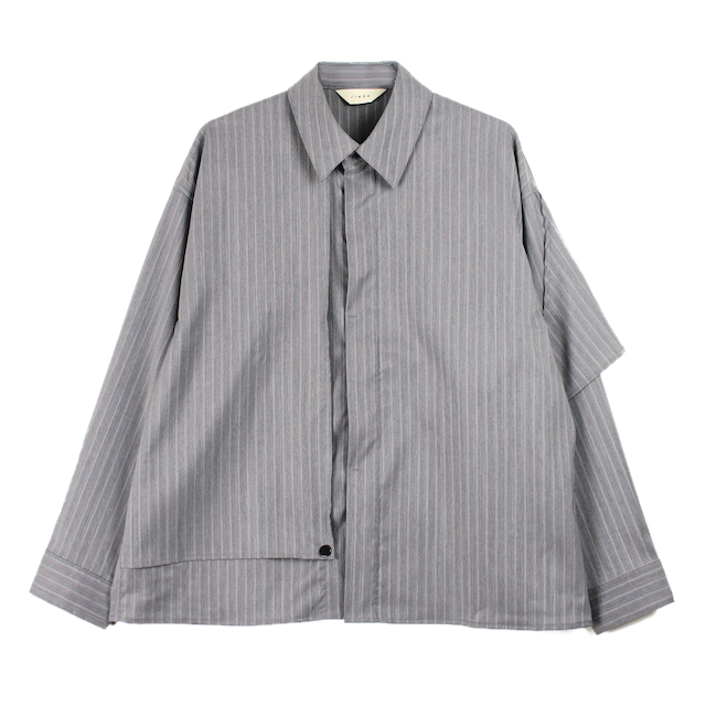 JIEDA SILK STRIPE TRENCH SHIRT GRAY