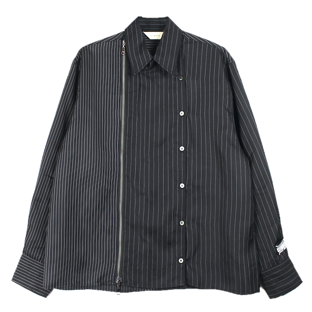 JIEDA ZIP & BUTTON SHIRT BLACK