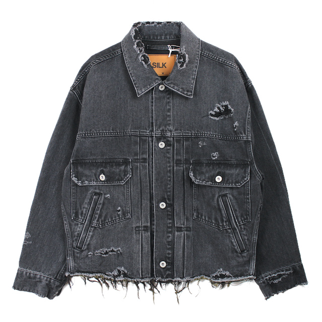 doublet DAMEGED SILK DENIM JACKET BLACK