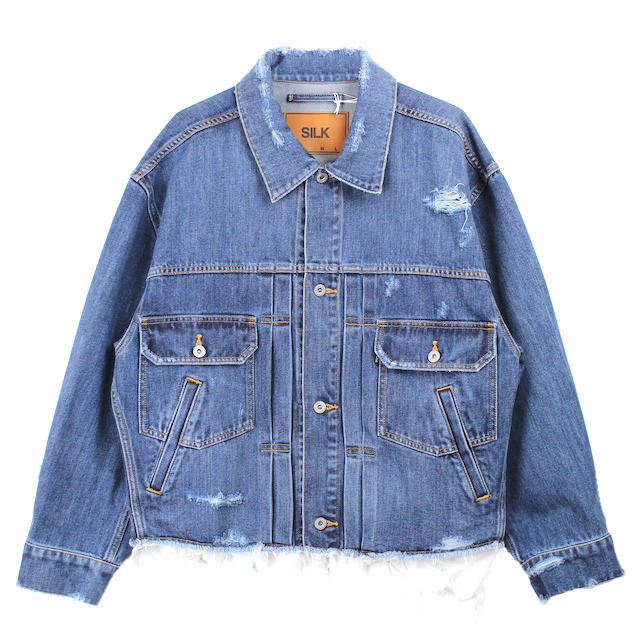 doublet DAMEGED SILK DENIM JACKET INDIGO