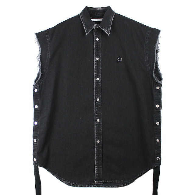 JOHNLAWRENCESULLIVAN OVERSIZED SLEEVELESS SHIRT WITH BODY PIERCING JEWELRY BLACK