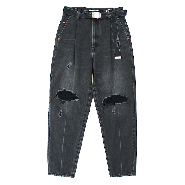 doublet DAMEGED SILK DENIM PANTS BLACK
