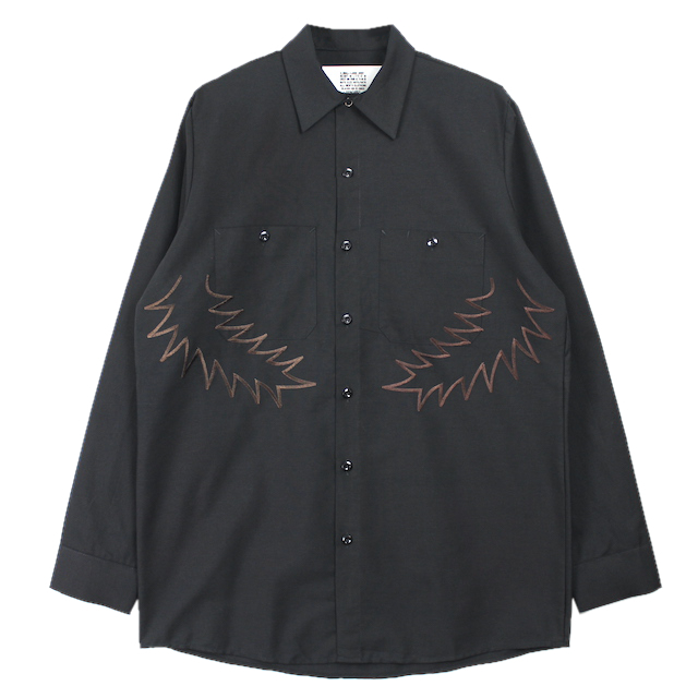 elephant TRIBAL fabrics PALM LEAF EMBROIDERY WORK SHIRT BLACK