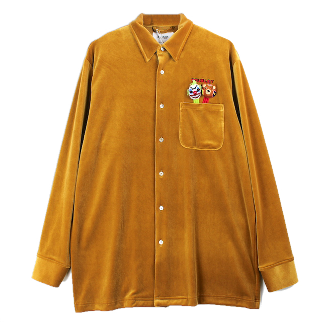 doublet PUPPET EMBROIDERY VELOUR SHIRT YELLOW