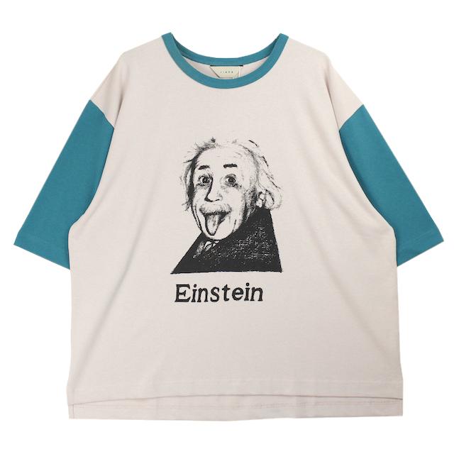 JIEDA EINSTEIN PRINT T-SHIRT WHITE/TURQUOISE