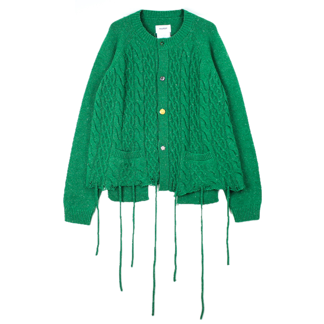 doublet RECYCLE WOOL CABLE CARDIGAN GREEN