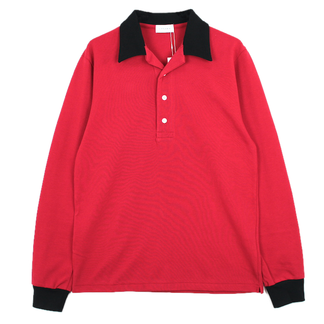 LITTLEBIG OPEN COLLARED L/S POLO SH RED