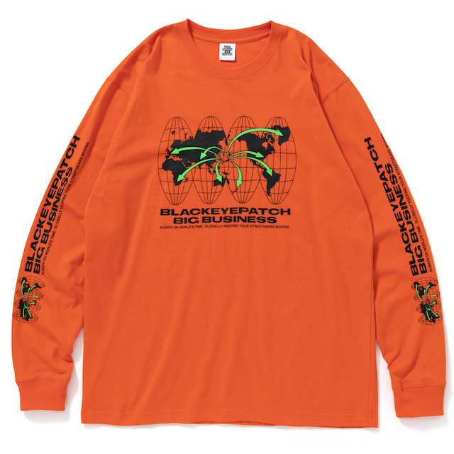 BlackEyePatch BIG BUSINESS L/S TEE ORANGE