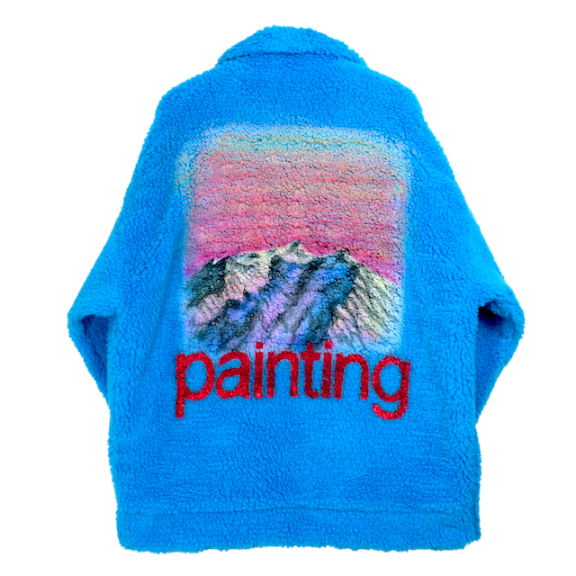 doublet HAND-PAINTED RECYCLE FUR JACKET L.BLUE