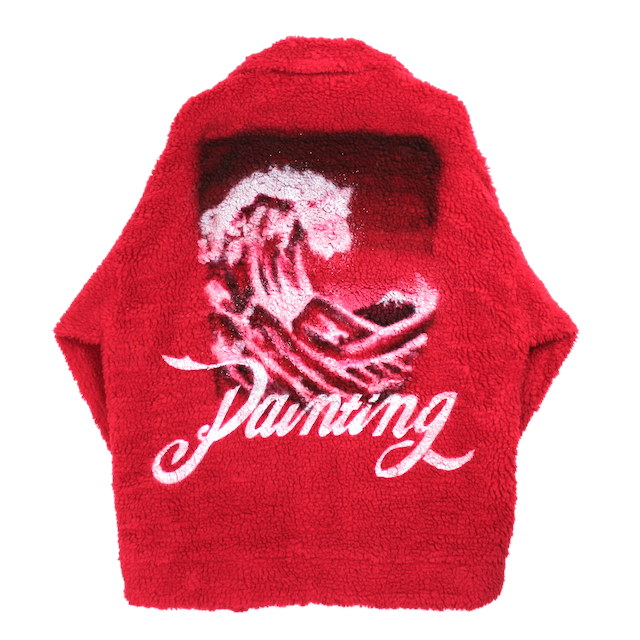 doublet HAND-PAINTED RECYCLE FUR JACKET RED