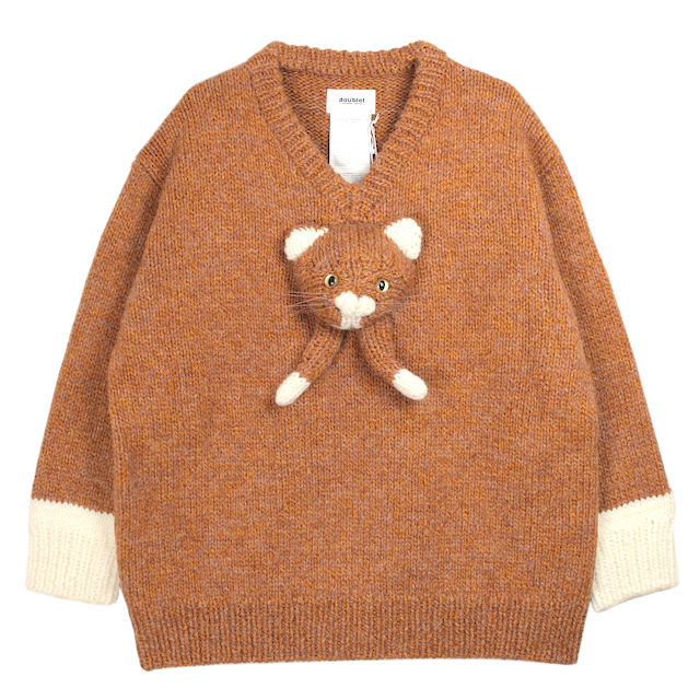 doublet STUFFED CAT HAND-KNITTING PULLOVER CAMEL